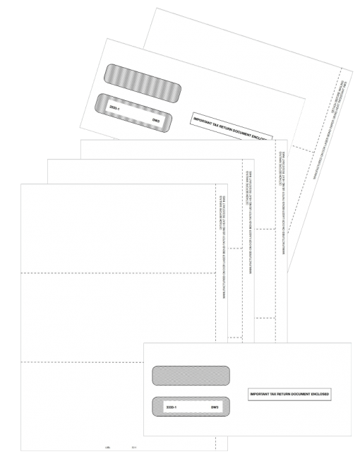 Blank 3up W2 Perforated Paper with Envelope - ZBPforms.com