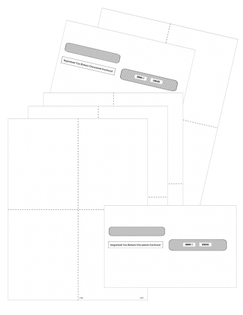 W2 Blank 4up Perforated Paper with Envelopes Set 2021 - ZBPforms.com