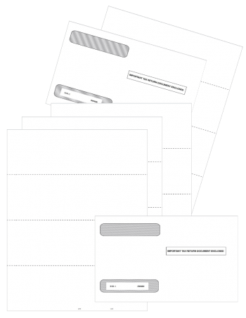Blank 4up Perforated W2 Paper, V2 Horizontal Perf Set with Envelopes - ZBPforms.com