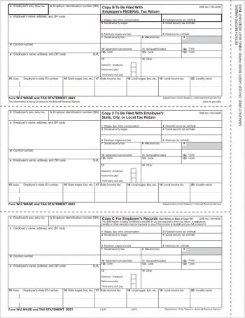 3up W2 Tax Forms for Employees, Copies B, C, 2 - ZBPforms.com
