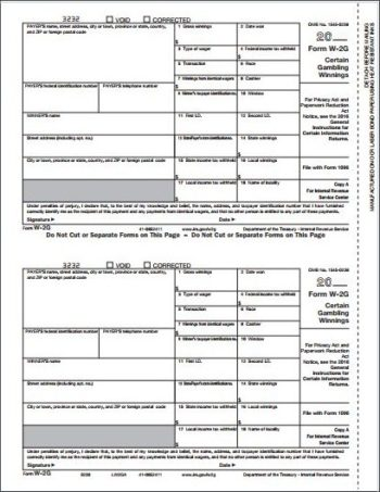 W2G Forms Copy A for payer filing with federal - ZBP Forms
