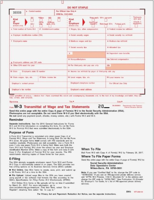 W3 Forms for Transmittals of W2 Copy A to the SSA - ZBPforms.com