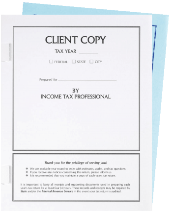 Client Copy Tax Return Covers with Side Staple Tabs - ZBPforms.com