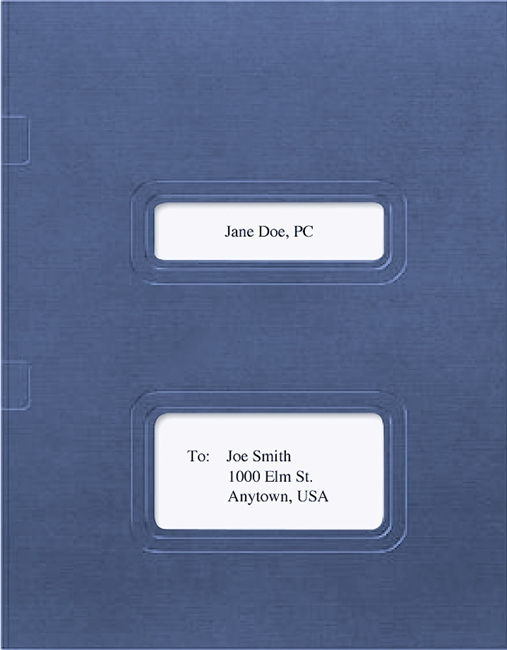 Drake and TaxWorks Software Folder with Windows for Cover Sheets and Side Staple Tabs in Blue - ZBPForms.com