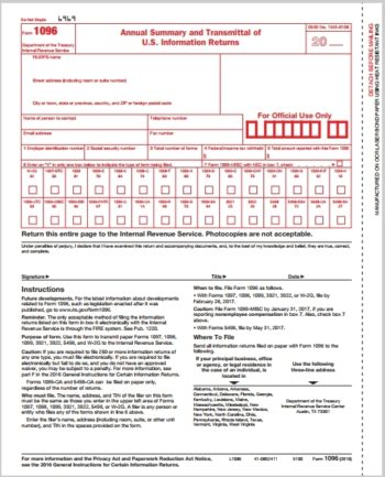 1096 Transmittal Forms for 1099 Filing with the IRS #L1096 - ZBPForms.com