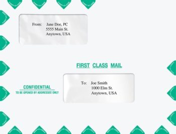 First Class Envelopes 10x13 with Alternate, Offset Double Windows PEB02 - ZBP Forms