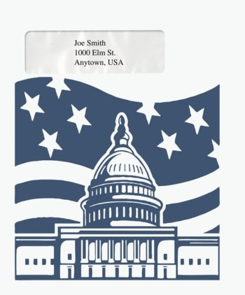 Patriotic Tax Envelope with Window for easy, official mailing PEB28 - ZBP Forms