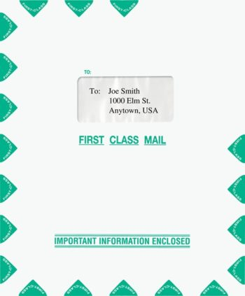 First Class Mail Envelope with 1 Window 9.5 x 11.5 Green. Compatible with Lacerte software. PEH34 - ZBP Forms