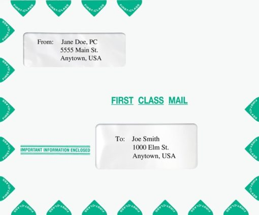 Large First Class Mail Envelope 9.5 x 11.5 with 2 Windows V2 Lanscape format PEN14 - ZBP Forms
