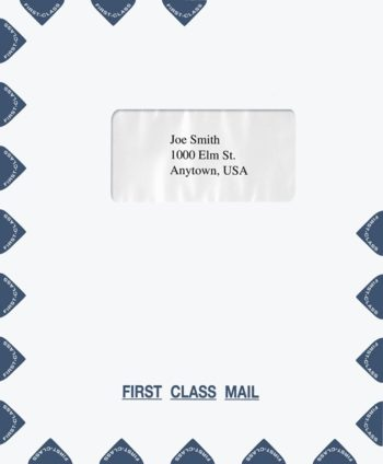 First Class Mail Envelope 9.5 x 11.5 with 1 Window in the Center, Blue PEQ17 - ZBP Forms
