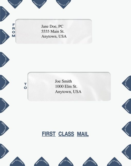 First Class Mail Envelope Blue Double Alternate Windows 9.5 x 12 PEQ43 - ZBP Forms