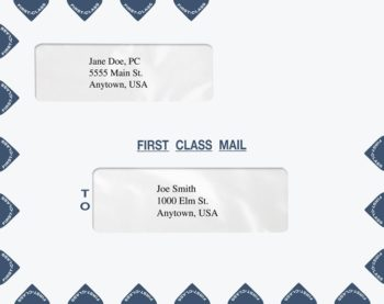 First Class Mail Envelopes Landscape Double Window Blue PER44 PEY51 - ZBP Forms