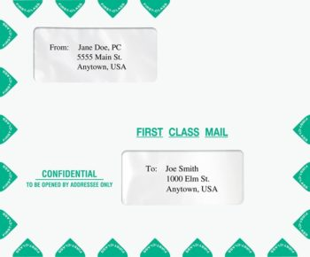 First Class Envelope 9.5 x 11.5 for Mailing Tax Returns. Landscape style with 2 windows, compatible with Drake software - ZBPForms.com