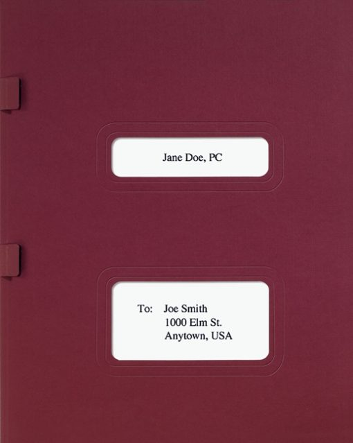 Drake, TaxWise and TaxWorks Software Folder with Windows for Cover Sheets and Side Staple Tabs in Burgundy - ZBPForms.com