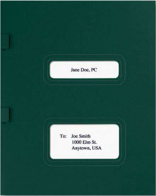 Green Tax Return Folder with Windows for TaxWise, TaxWorks and Drake Software - ZBPForms.com