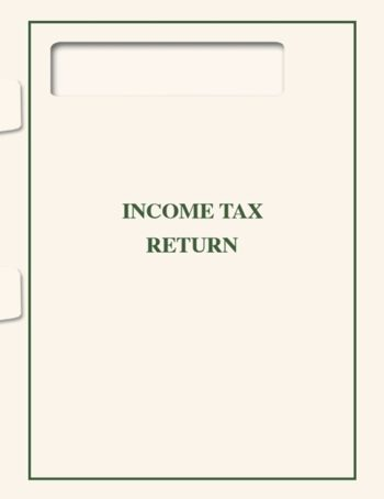 Tax Return Folder with 1040 Window, Cream Paper with Green Printing makes a professional presentation of tax returns by a CPA or accountant SFOFW - ZBP Forms