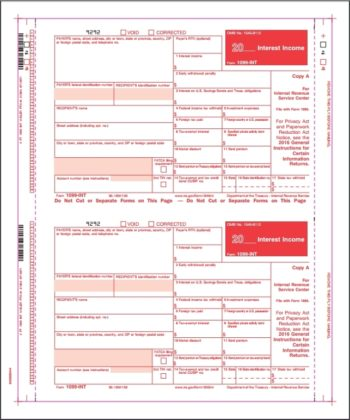 1099INT Carbonless Self Mailer Forms - ZBPForms.com