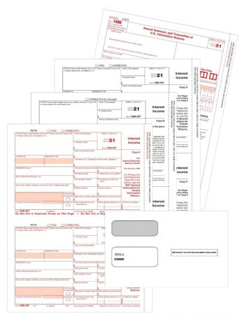 Form 1099INT with Envelopes Set for Payers and Recipients - ZBPforms.com