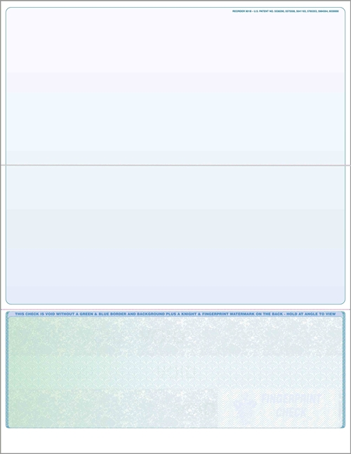 Blank check stock, bottom checks in prismatic green to blue. High security check stock at affordable prices - ZBP Forms