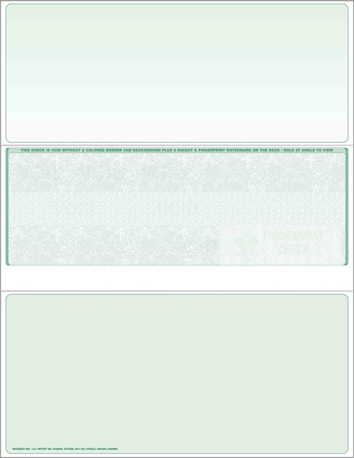 Blank check stock, middle checks in green. High security check stock at affordable prices - ZBP Forms