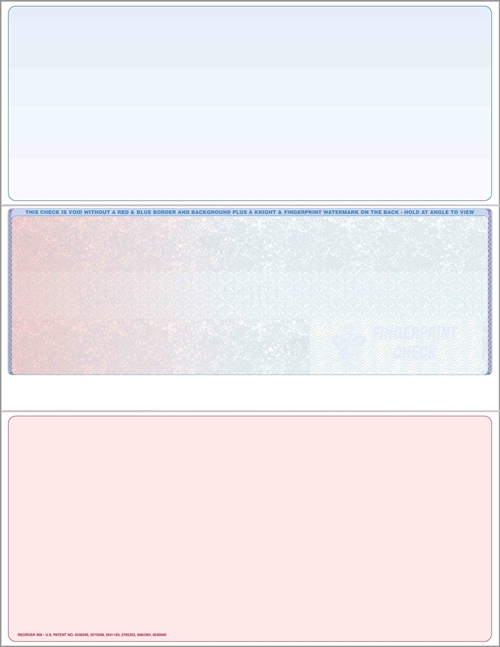 Blank check stock, middle checks in prismatic burgundy to blue. High security check stock at affordable prices - ZBP Forms
