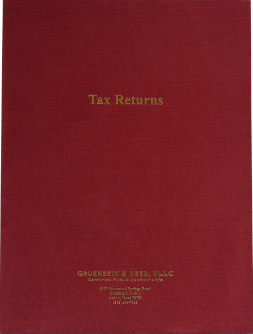 Custom Tax Return Folders with Foil Stamping in Many Colors and Styles at Low Prices - ZBPForms.com