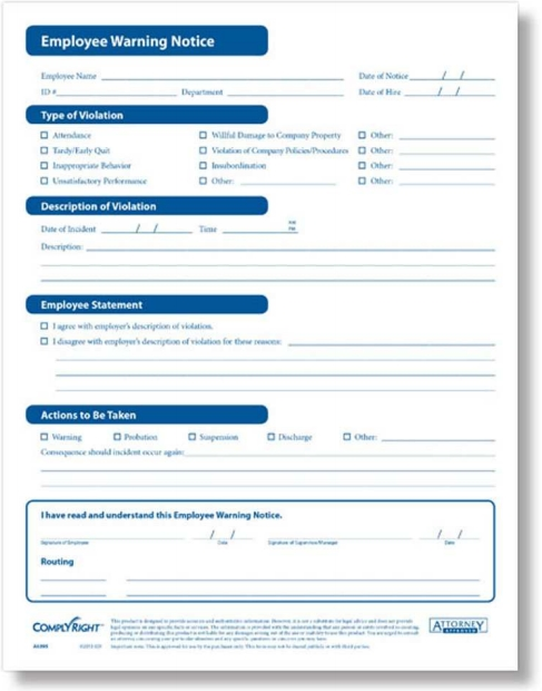 Employee Warning Notice Write Up Forms from ComplyRight - ZBP Forms
