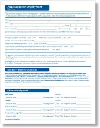 Job Application Form, Short Version by ComplyRight - ZBP Forms