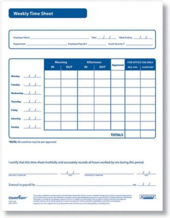 Weekly timesheet forms for employees, compliant with labor laws - ZBP Forms