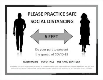 Social Distancing Sign for Download and Print Yourself, Black & White - ZBPforms.com