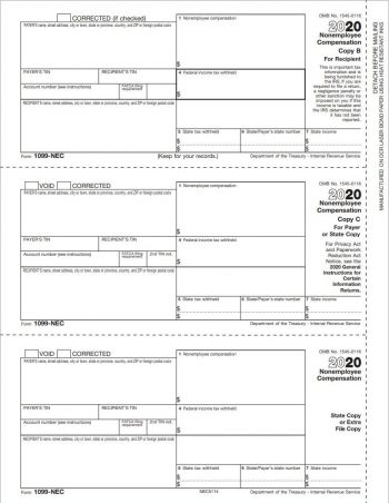 1099-NEC Form - Copy B/C/2 3up