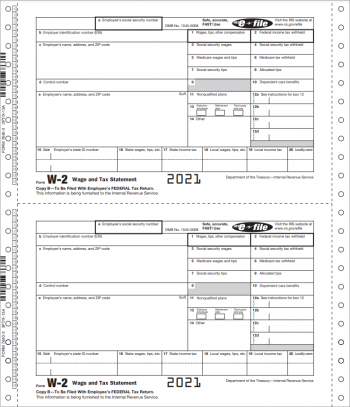 W2 Continuous Carbonless Forms for E-Filing, No Copy A is Included - ZBPforms.com