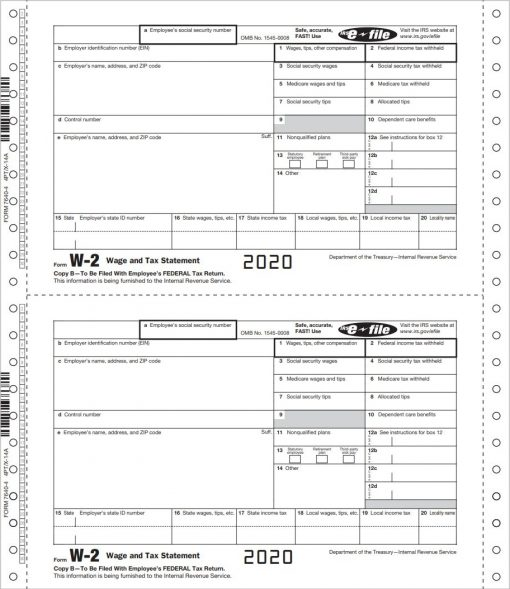 W2 Carbonless Continuous Forms for Employees - ZBPforms.com