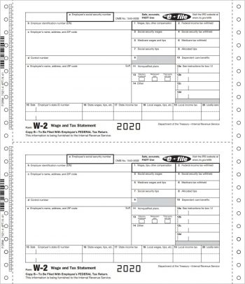 W2 Continuous Carbonless forms for businesses that electonically file - ZBPforms.com