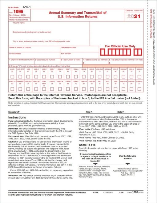 Form 1096 Summary and Transmittal for 1099 Tax Forms - ZBPforms.com