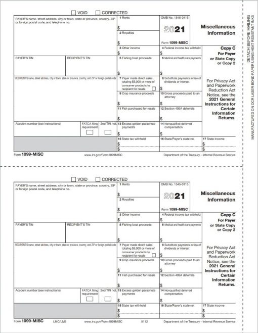 Form 1099MISC for Payer State or File - ZBPforms.com