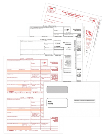Form 1099MISC with Envelopes Set for Payers and Recipients - ZBPforms.com