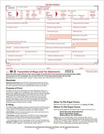 Form W3 Summary and Transmittal for W2 Form Filing with the SSA/IRS - ZBPforms.com